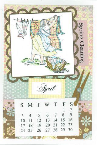 APRIL CALENDAR CARD