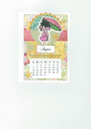 AUGUST CALENDAR CARD