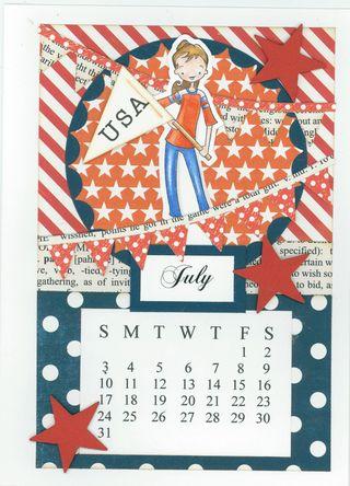 JULY CALENDAR CARD